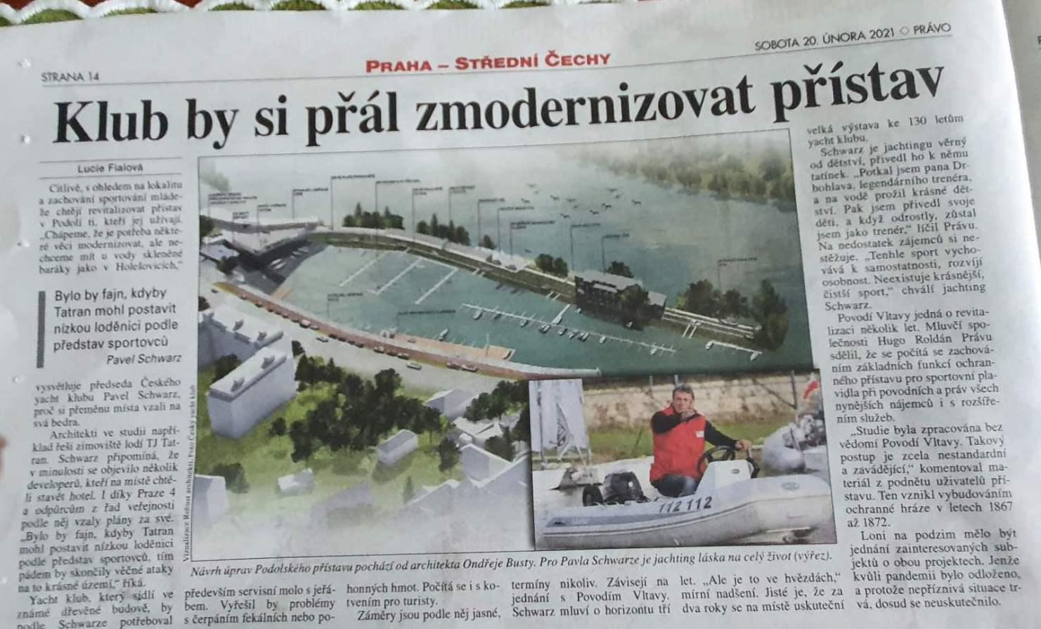 Projekt modernizace podolského přístavu v médiích
